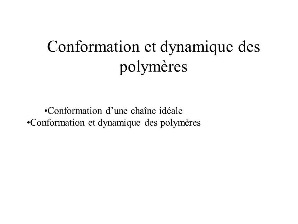 Conformation et dynamique des polymères Conformation d'une chaîne idéale Conformation et dynamique des polymères