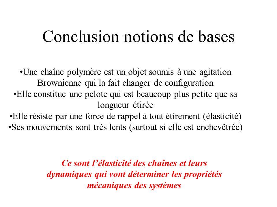 Conclusion notions de bases Une chaîne polymère est un objet soumis à une agitation Brownienne qui la fait changer de configuration Elle constitue une pelote qui est beaucoup plus petite que sa longueur étirée Elle résiste par une force de rappel à tout étirement (élasticité) Ses mouvements sont très lents (surtout si elle est enchevêtrée) Ce sont l'élasticité des chaînes et leurs dynamiques qui vont déterminer les propriétés mécaniques des systèmes