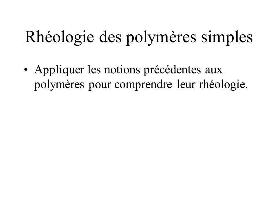 Rhéologie des polymères simples Appliquer les notions précédentes aux polymères pour comprendre leur rhéologie.