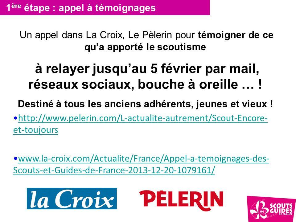 1 ère étape : appel à témoignages Un appel dans La Croix, Le Pèlerin pour témoigner de ce qu'a apporté le scoutisme à relayer jusqu'au 5 février par mail, réseaux sociaux, bouche à oreille … .