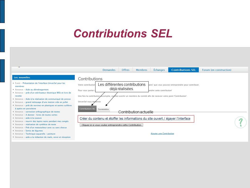 Contributions SEL Les différentes contributions à réaliser.