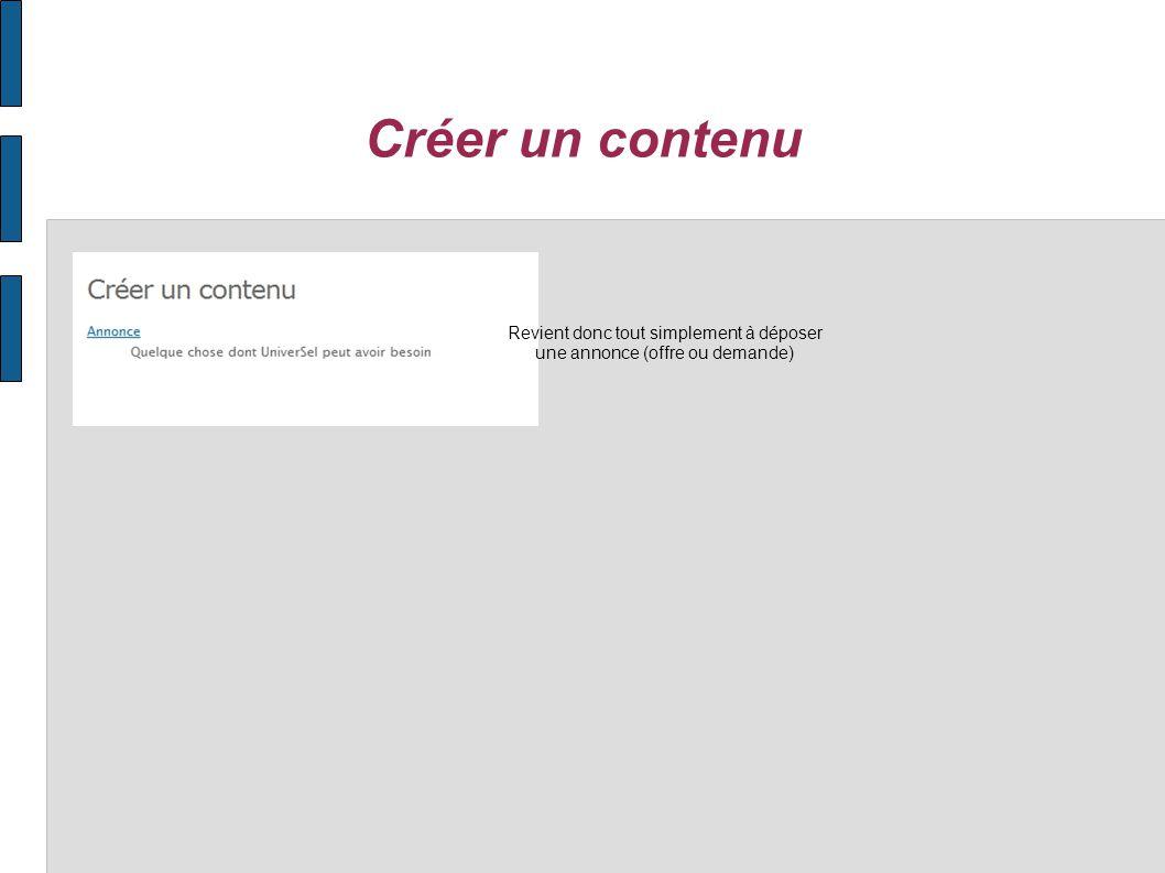 Créer un contenu Revient donc tout simplement à déposer une annonce (offre ou demande)