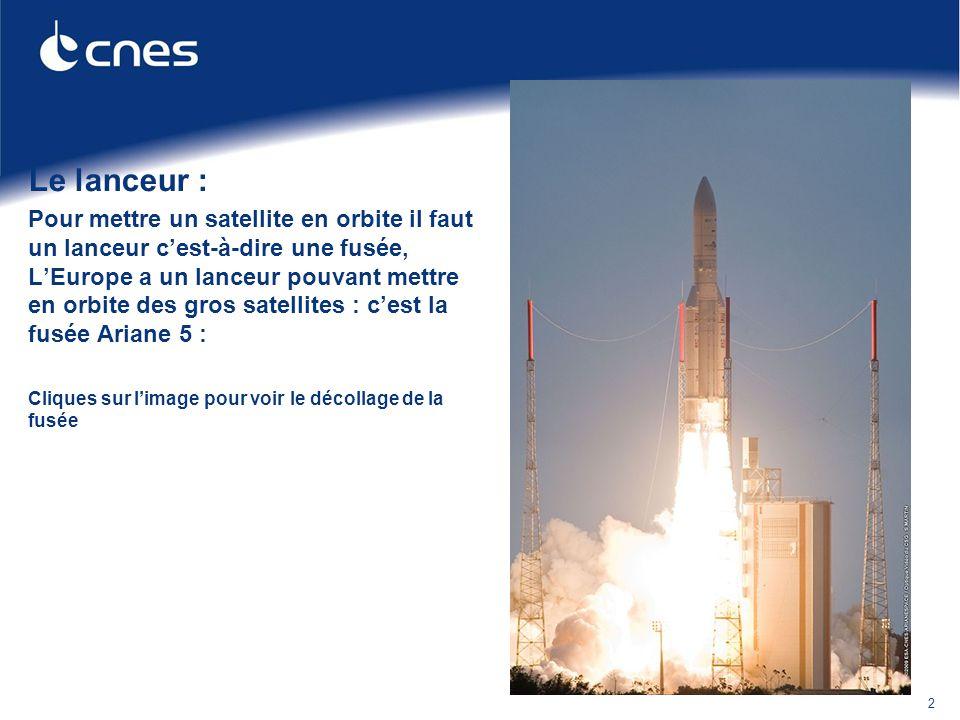 Le lanceur : Pour mettre un satellite en orbite il faut un lanceur c'est-à-dire une fusée, L'Europe a un lanceur pouvant mettre en orbite des gros sat