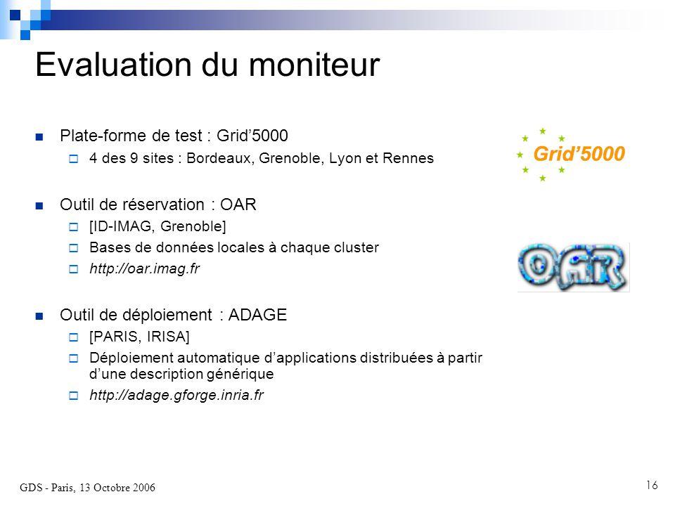 GDS - Paris, 13 Octobre 2006 16 Plate-forme de test : Grid'5000  4 des 9 sites : Bordeaux, Grenoble, Lyon et Rennes Outil de réservation : OAR  [ID-IMAG, Grenoble]  Bases de données locales à chaque cluster  http://oar.imag.fr Outil de déploiement : ADAGE  [PARIS, IRISA]  Déploiement automatique d'applications distribuées à partir d'une description générique  http://adage.gforge.inria.fr Evaluation du moniteur
