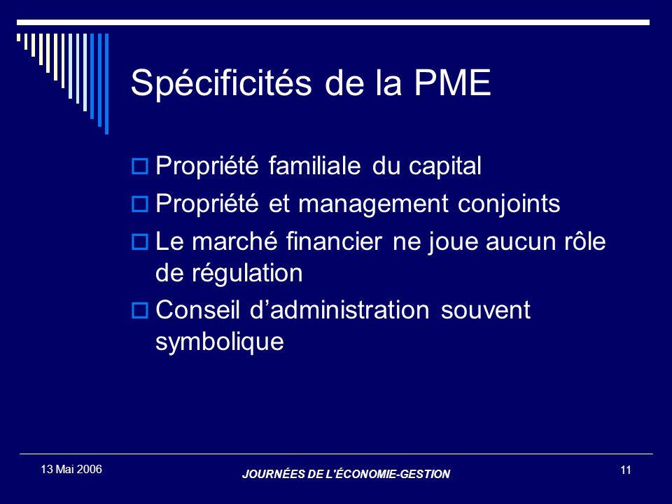 JOURNÉES DE L'ÉCONOMIE-GESTION 11 13 Mai 2006 Spécificités de la PME  Propriété familiale du capital  Propriété et management conjoints  Le marché