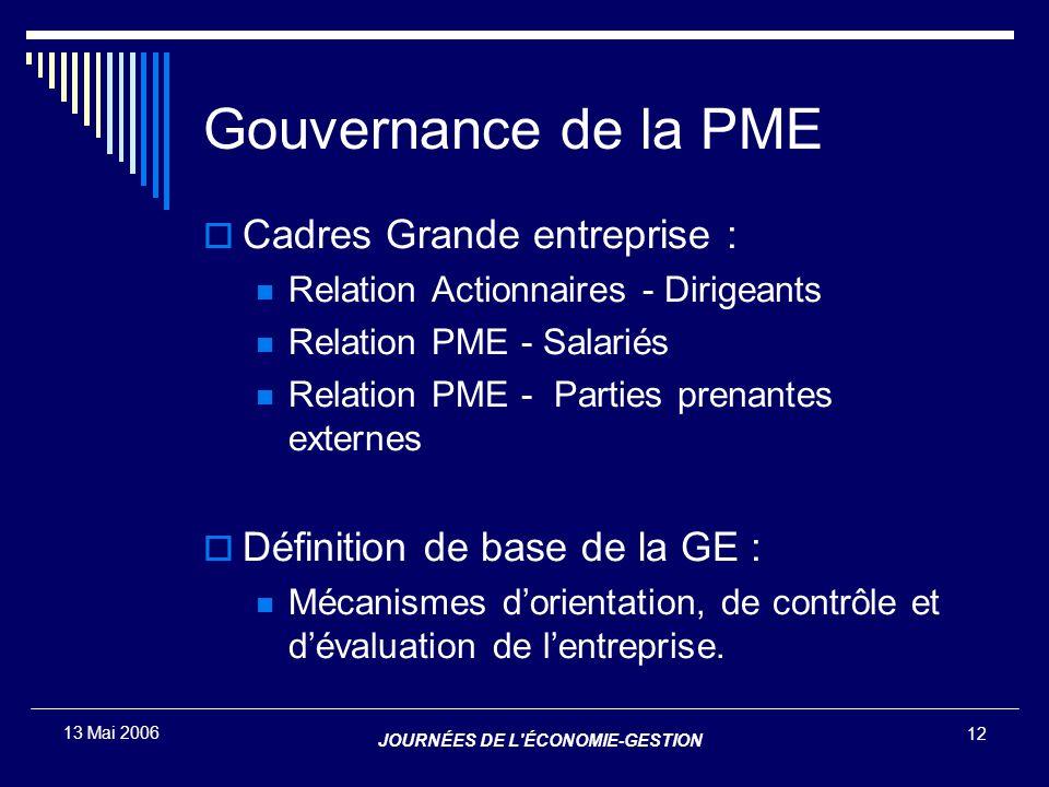 JOURNÉES DE L'ÉCONOMIE-GESTION 12 13 Mai 2006 Gouvernance de la PME  Cadres Grande entreprise : Relation Actionnaires - Dirigeants Relation PME - Sal