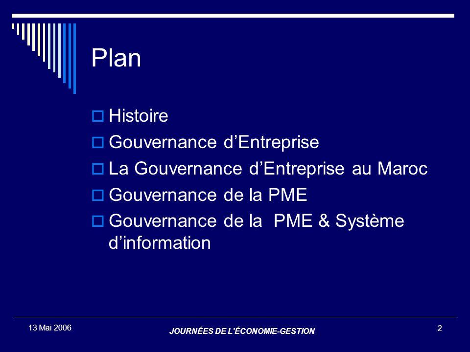 JOURNÉES DE L'ÉCONOMIE-GESTION 2 13 Mai 2006 Plan  Histoire  Gouvernance d'Entreprise  La Gouvernance d'Entreprise au Maroc  Gouvernance de la PME