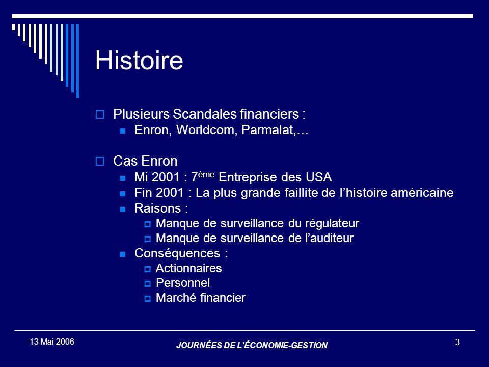 JOURNÉES DE L'ÉCONOMIE-GESTION 3 13 Mai 2006 Histoire  Plusieurs Scandales financiers : Enron, Worldcom, Parmalat,…  Cas Enron Mi 2001 : 7 ème Entre