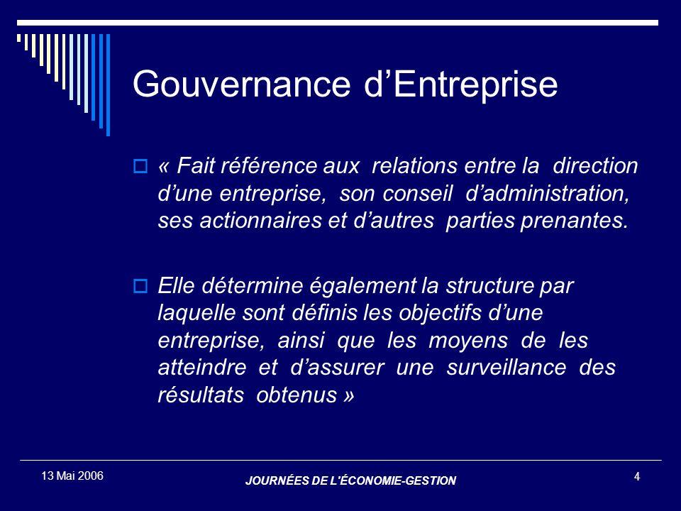 JOURNÉES DE L'ÉCONOMIE-GESTION 4 13 Mai 2006 Gouvernance d'Entreprise  « Fait référence aux relations entre la direction d'une entreprise, son consei