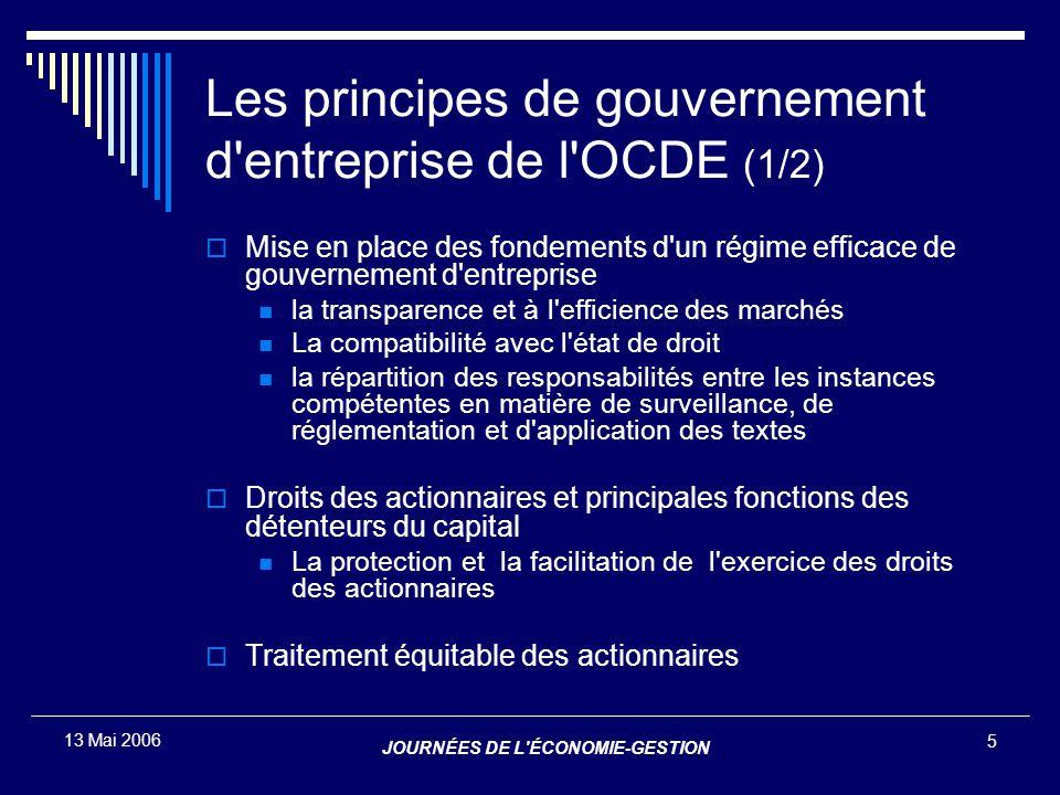 JOURNÉES DE L'ÉCONOMIE-GESTION 5 13 Mai 2006 Les principes de gouvernement d'entreprise de l'OCDE (1/2)  Mise en place des fondements d'un régime eff