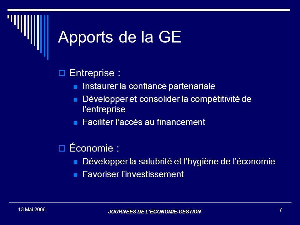 JOURNÉES DE L'ÉCONOMIE-GESTION 7 13 Mai 2006 Apports de la GE  Entreprise : Instaurer la confiance partenariale Développer et consolider la compétiti