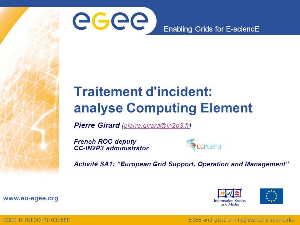 Enabling Grids for E-sciencE Pierre GirardAtelier Sécurité – LCG-CE-02/04/20092 Plan Rappel du fonctionnement du LCG-CE Installation et vérification du CE Suivi d'incident sécurité Conclusion