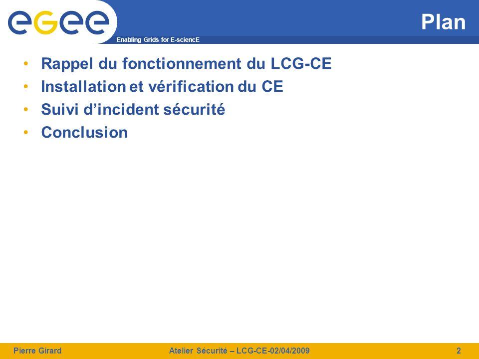 Enabling Grids for E-sciencE Pierre GirardAtelier Sécurité – LCG-CE-02/04/20093 Fonctionnement du LCG-CE Soumission classique TCP PORT RANGE 2119 2811 2170 gatekeepe r Jobmanager LCAS LCMAPS gridftp GRIS/BDII 2) Authentification 3) Authorisation 1) soumission de job sur une queue 4) Fork avec l'utilisateur choisi 5) Soumet au batch et suit la progression du job