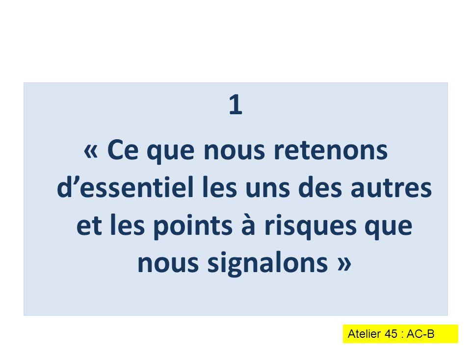 1 « Ce que nous retenons d'essentiel les uns des autres et les points à risques que nous signalons » Atelier 45 : AC-B