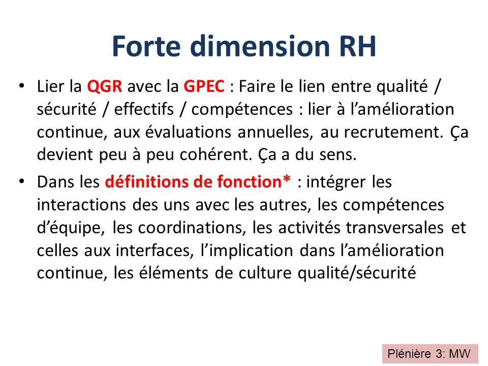 Lier la QGR avec la GPEC : Faire le lien entre qualité / sécurité / effectifs / compétences : lier à l'amélioration continue, aux évaluations annuelle
