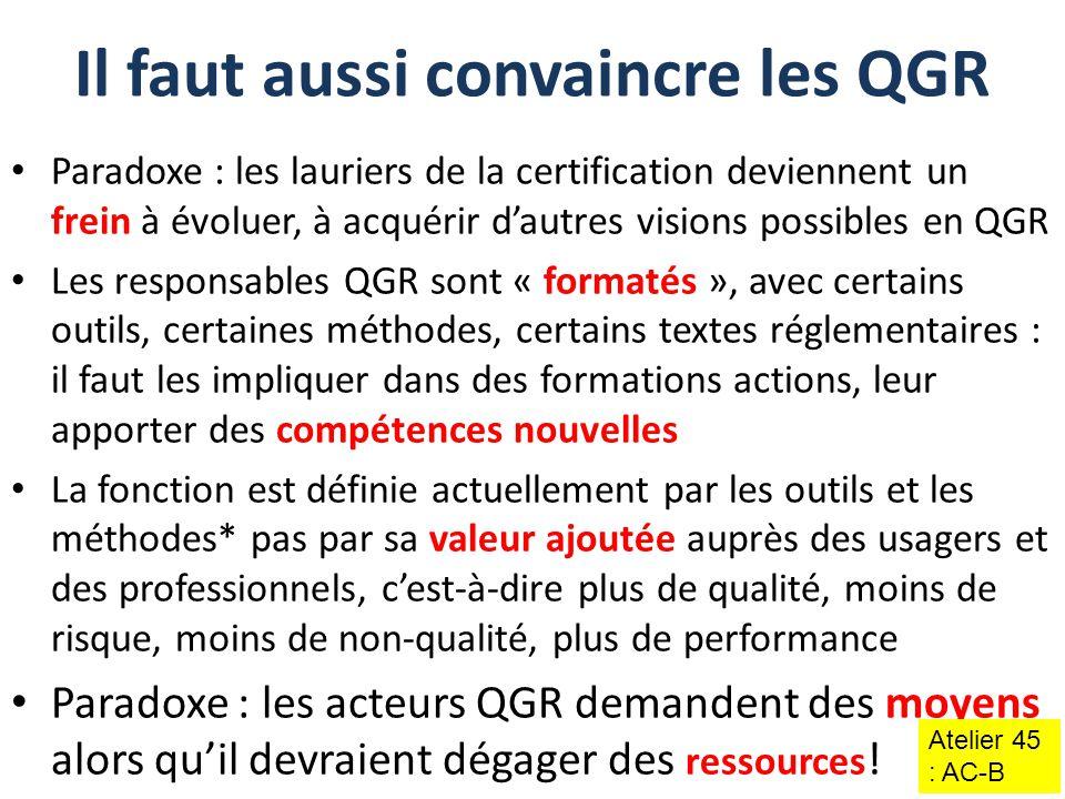 Paradoxe : les lauriers de la certification deviennent un frein à évoluer, à acquérir d'autres visions possibles en QGR Les responsables QGR sont « fo