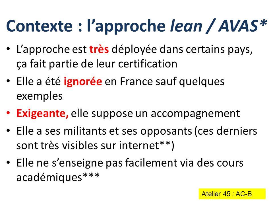 L'approche est très déployée dans certains pays, ça fait partie de leur certification Elle a été ignorée en France sauf quelques exemples Exigeante, e