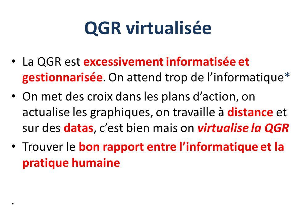 La QGR est excessivement informatisée et gestionnarisée. On attend trop de l'informatique* On met des croix dans les plans d'action, on actualise les