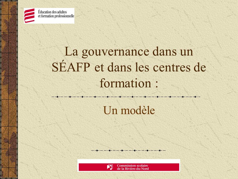 La gouvernance dans un SÉAFP et dans les centres de formation : Un modèle
