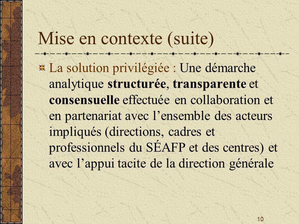 10 Mise en contexte (suite) La solution privilégiée : Une démarche analytique structurée, transparente et consensuelle effectuée en collaboration et en partenariat avec l'ensemble des acteurs impliqués (directions, cadres et professionnels du SÉAFP et des centres) et avec l'appui tacite de la direction générale