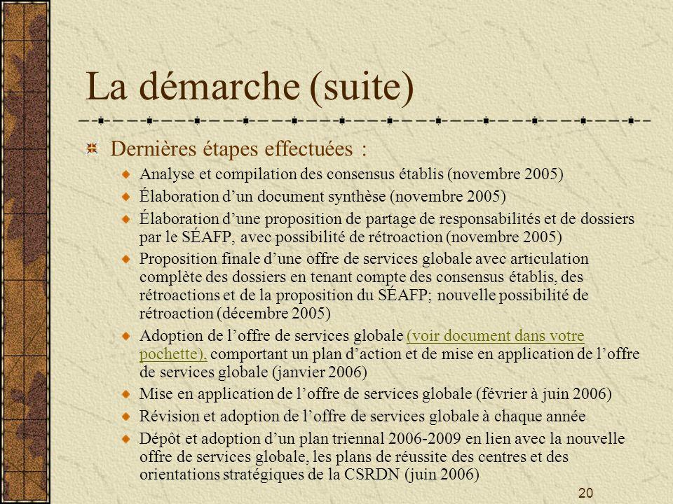 20 La démarche (suite) Dernières étapes effectuées : Analyse et compilation des consensus établis (novembre 2005) Élaboration d'un document synthèse (novembre 2005) Élaboration d'une proposition de partage de responsabilités et de dossiers par le SÉAFP, avec possibilité de rétroaction (novembre 2005) Proposition finale d'une offre de services globale avec articulation complète des dossiers en tenant compte des consensus établis, des rétroactions et de la proposition du SÉAFP; nouvelle possibilité de rétroaction (décembre 2005) Adoption de l'offre de services globale (voir document dans votre pochette), comportant un plan d'action et de mise en application de l'offre de services globale (janvier 2006) Mise en application de l'offre de services globale (février à juin 2006) Révision et adoption de l'offre de services globale à chaque année Dépôt et adoption d'un plan triennal 2006-2009 en lien avec la nouvelle offre de services globale, les plans de réussite des centres et des orientations stratégiques de la CSRDN (juin 2006)