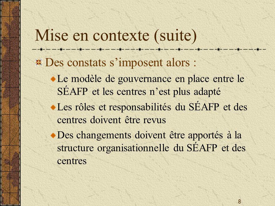8 Mise en contexte (suite) Des constats s'imposent alors : Le modèle de gouvernance en place entre le SÉAFP et les centres n'est plus adapté Les rôles et responsabilités du SÉAFP et des centres doivent être revus Des changements doivent être apportés à la structure organisationnelle du SÉAFP et des centres