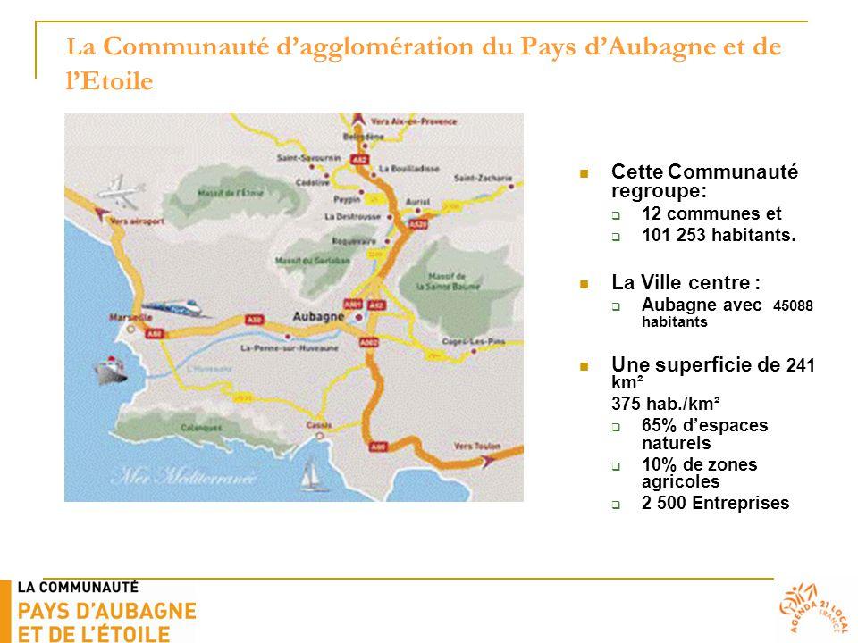 L a Communauté d'agglomération du Pays d'Aubagne et de l'Etoile Cette Communauté regroupe:  12 communes et  101 253 habitants. La Ville centre :  A