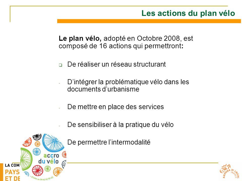Les actions du plan vélo Le plan vélo, adopté en Octobre 2008, est composé de 16 actions qui permettront:  De réaliser un réseau structurant - D'intégrer la problématique vélo dans les documents d'urbanisme - De mettre en place des services - De sensibiliser à la pratique du vélo - De permettre l'intermodalité