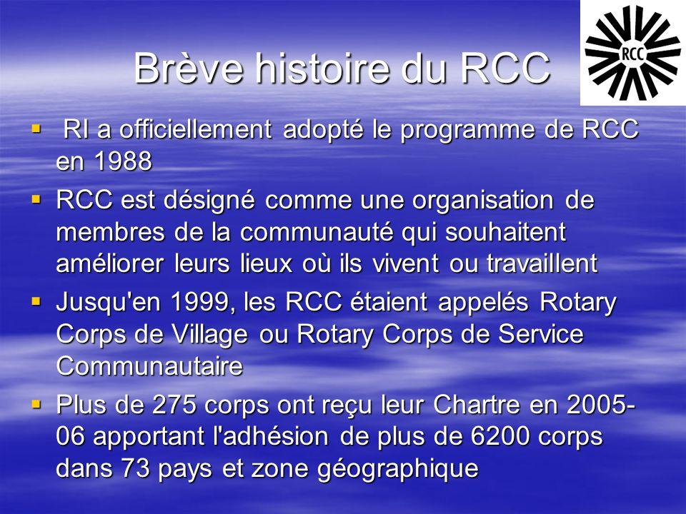 Brève histoire du RCC  RI a officiellement adopté le programme de RCC en 1988  RCC est désigné comme une organisation de membres de la communauté qu