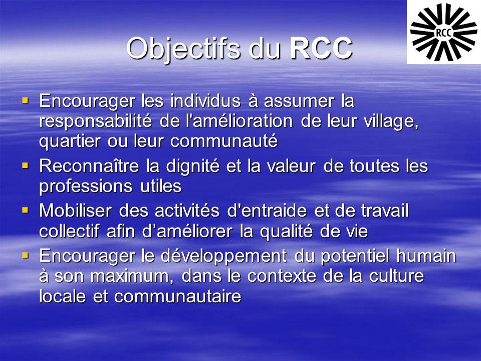 Objectifs du RCC  Encourager les individus à assumer la responsabilité de l'amélioration de leur village, quartier ou leur communauté  Reconnaître l