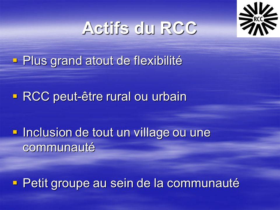 Actifs du RCC  Plus grand atout de flexibilité  RCC peut-être rural ou urbain  Inclusion de tout un village ou une communauté  Petit groupe au sei