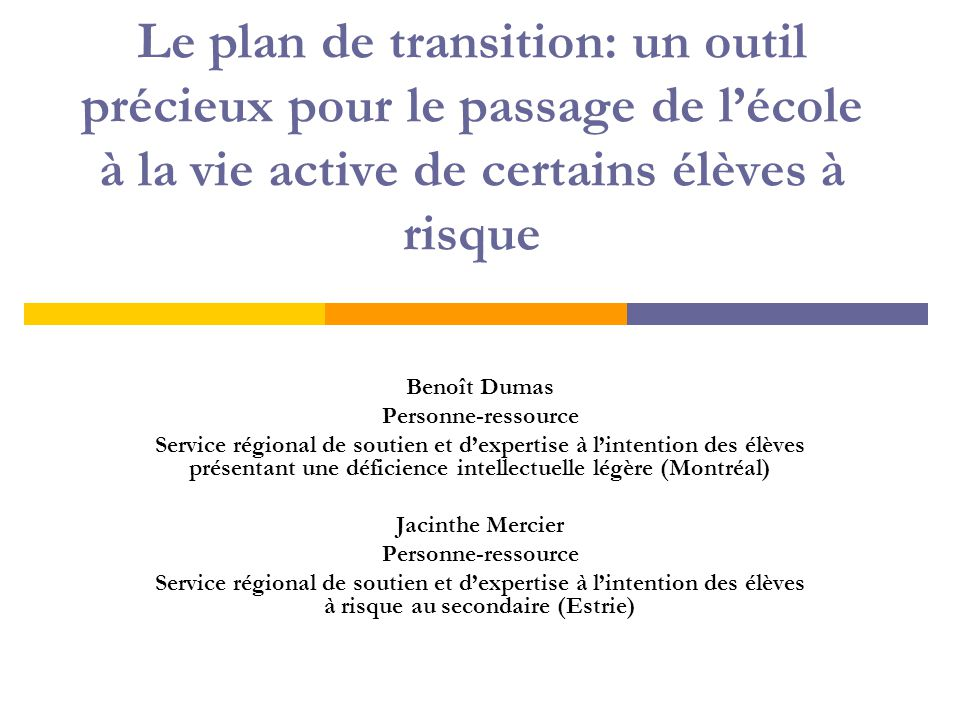 Objectifs de la présentation  Exposer les orientations du MEQ en matière d'insertion sociale et professionnelle;  Prendre connaissance du rapport du comité de travail sur l'implantation d'une pratique de la planification de la transition au Québec.