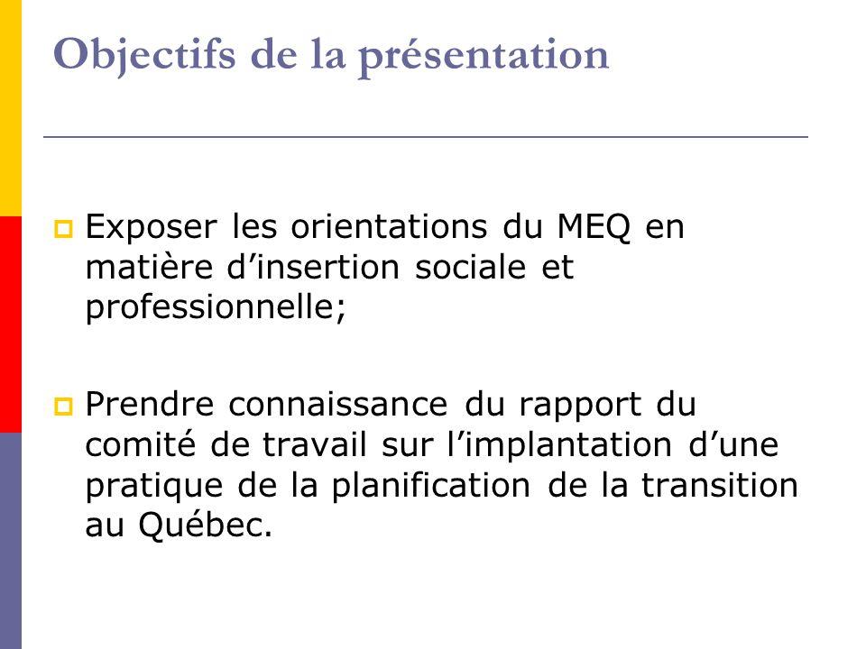 Les orientations du MEQ