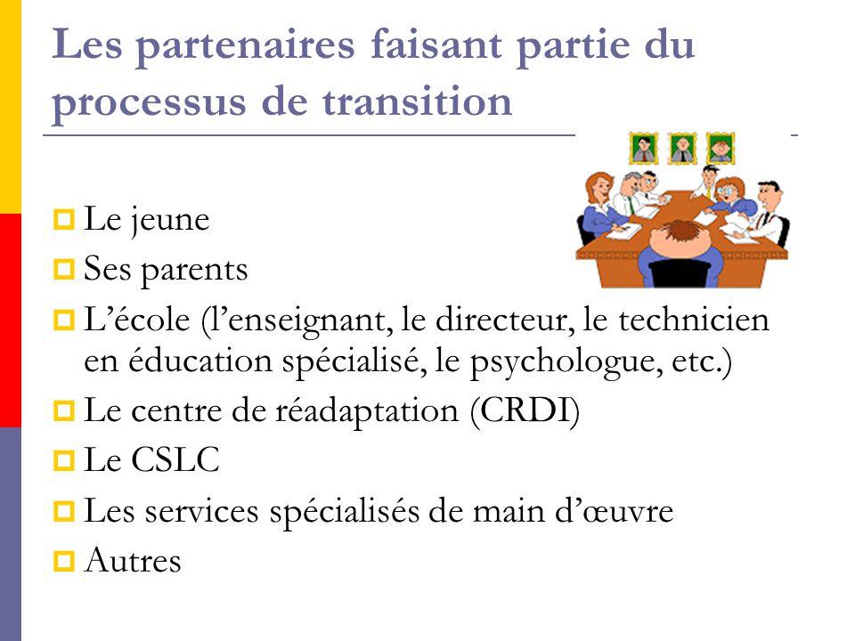 Les partenaires faisant partie du processus de transition  Le jeune  Ses parents  L'école (l'enseignant, le directeur, le technicien en éducation spécialisé, le psychologue, etc.)  Le centre de réadaptation (CRDI)  Le CSLC  Les services spécialisés de main d'œuvre  Autres