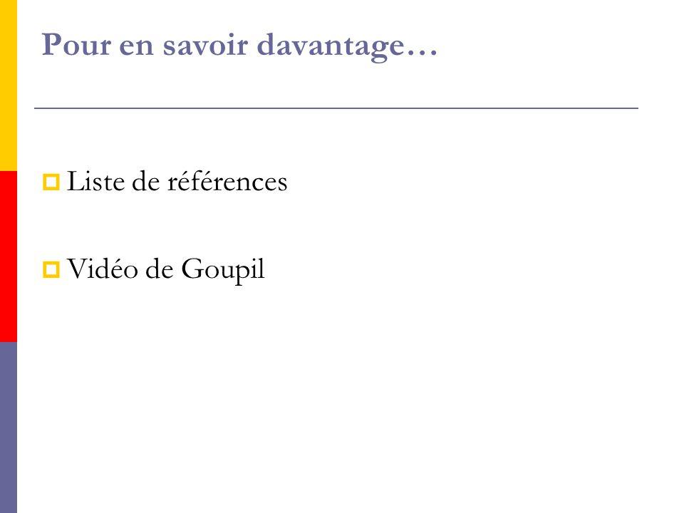 Pour en savoir davantage…  Liste de références  Vidéo de Goupil