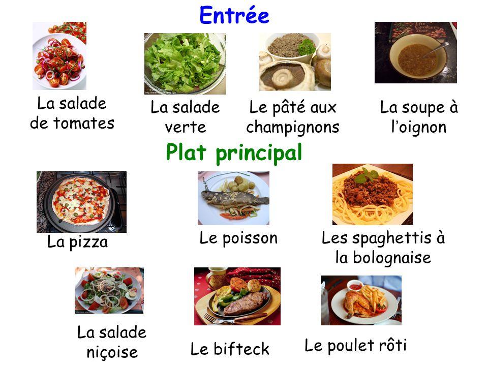 La soupe à l'oignon La salade de tomates La salade verte Le pâté aux champignons Les spaghettis à la bolognaise La pizza Le poulet rôti Le bifteck La salade niçoise Le poisson Entrée Plat principal