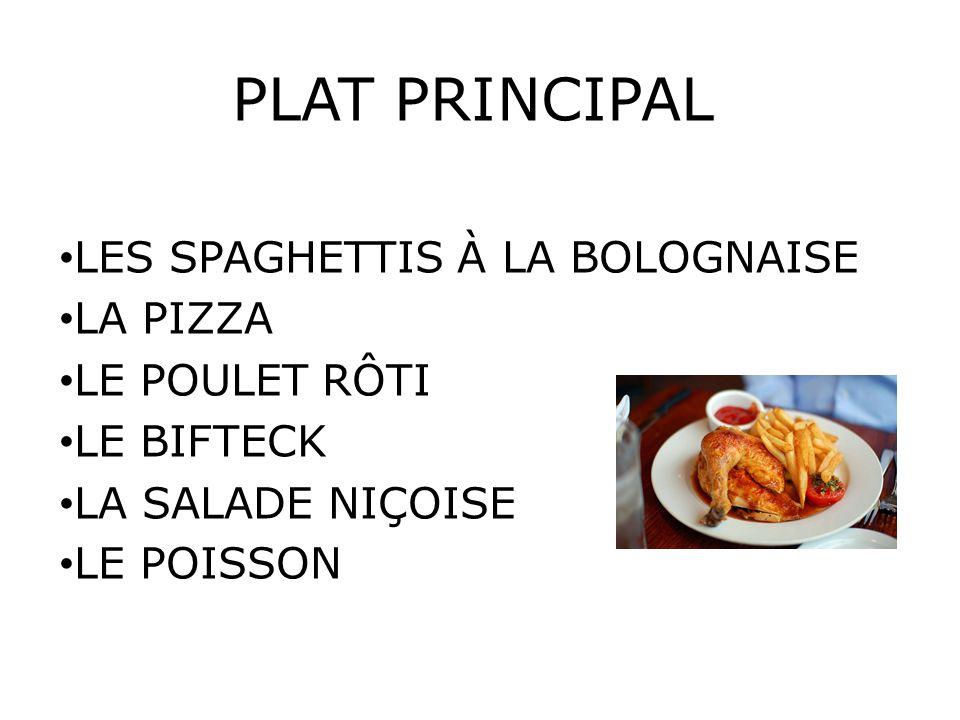 PLAT PRINCIPAL LES SPAGHETTIS À LA BOLOGNAISE LA PIZZA LE POULET RÔTI LE BIFTECK LA SALADE NIÇOISE LE POISSON