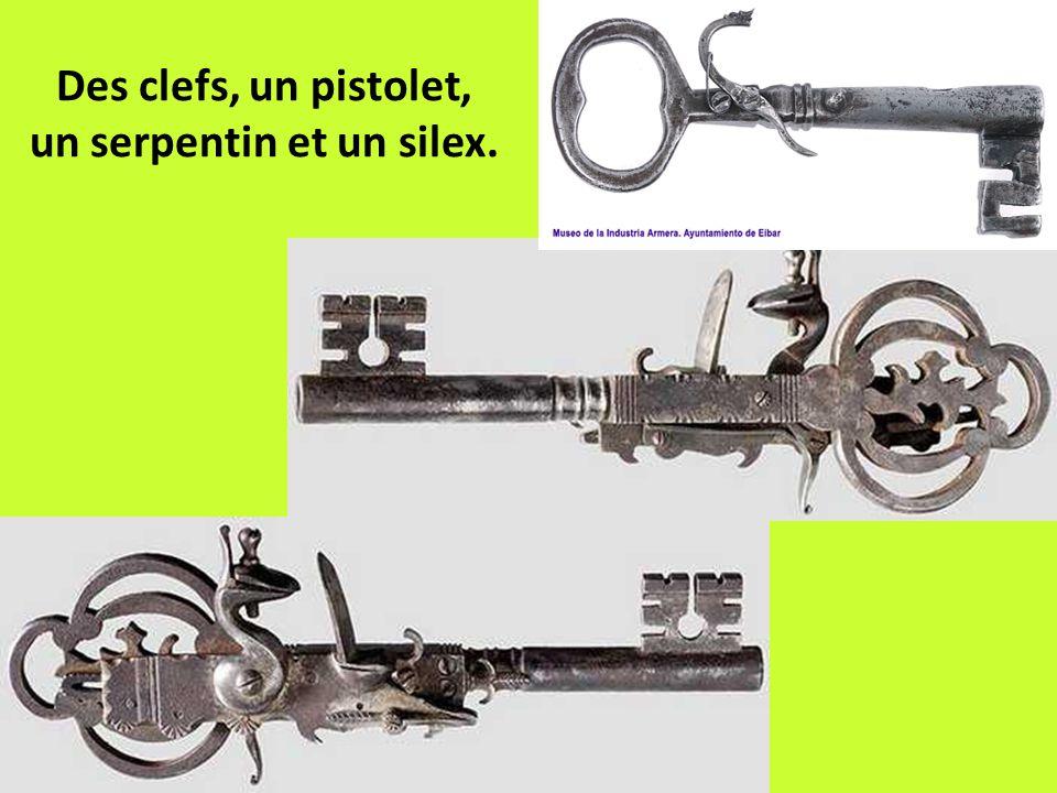 Des clefs, un pistolet, un serpentin et un silex.