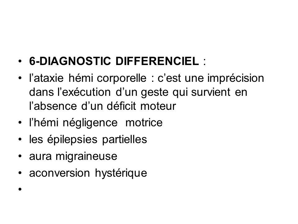 6-DIAGNOSTIC DIFFERENCIEL : l'ataxie hémi corporelle : c'est une imprécision dans l'exécution d'un geste qui survient en l'absence d'un déficit moteur