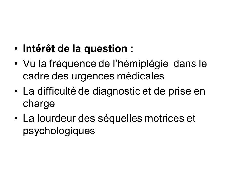 Intérêt de la question : Vu la fréquence de l'hémiplégie dans le cadre des urgences médicales La difficulté de diagnostic et de prise en charge La lou