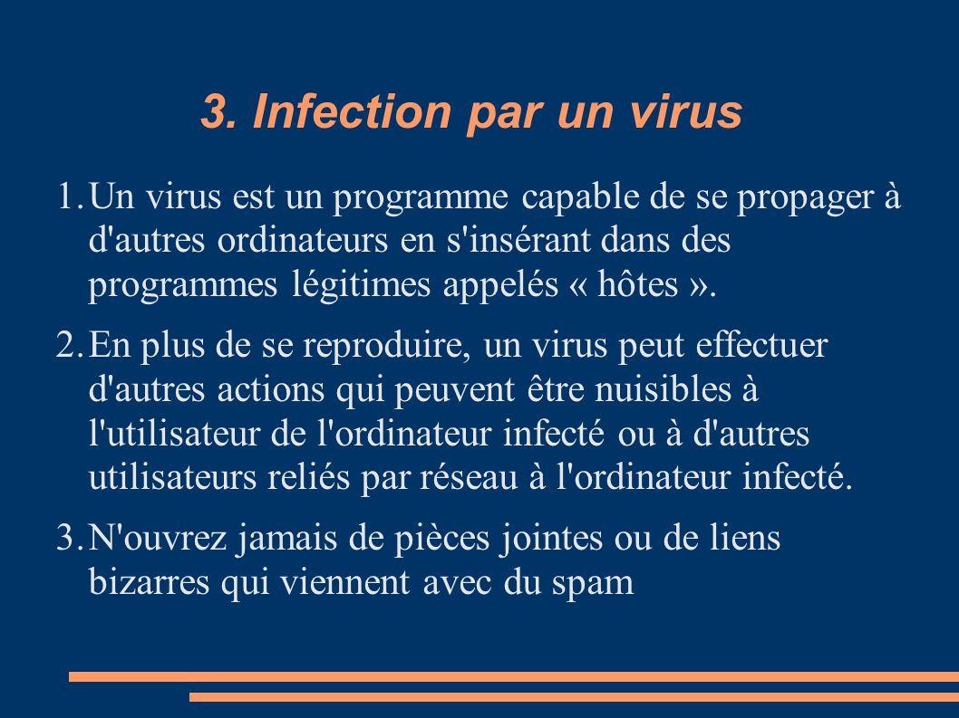 3. Infection par un virus 1.Un virus est un programme capable de se propager à d'autres ordinateurs en s'insérant dans des programmes légitimes appelé
