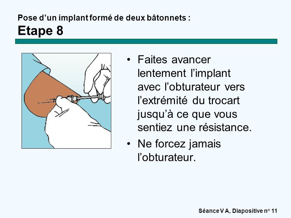 Séance V A, Diapositive n o 11 Pose d'un implant formé de deux bâtonnets : Etape 8 Faites avancer lentement l'implant avec l'obturateur vers l'extrémité du trocart jusqu'à ce que vous sentiez une résistance.