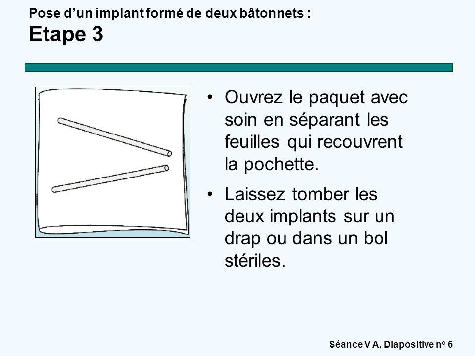 Séance V A, Diapositive n o 6 Pose d'un implant formé de deux bâtonnets : Etape 3 Ouvrez le paquet avec soin en séparant les feuilles qui recouvrent la pochette.