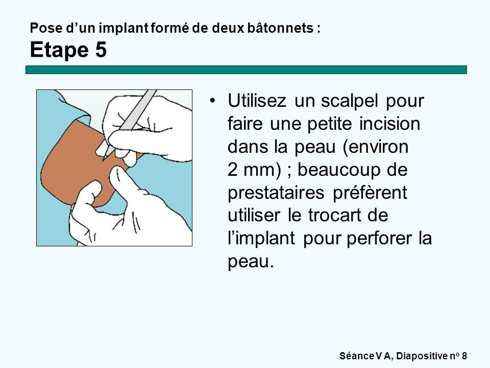 Séance V A, Diapositive n o 8 Pose d'un implant formé de deux bâtonnets : Etape 5 Utilisez un scalpel pour faire une petite incision dans la peau (environ 2 mm) ; beaucoup de prestataires préfèrent utiliser le trocart de l'implant pour perforer la peau.