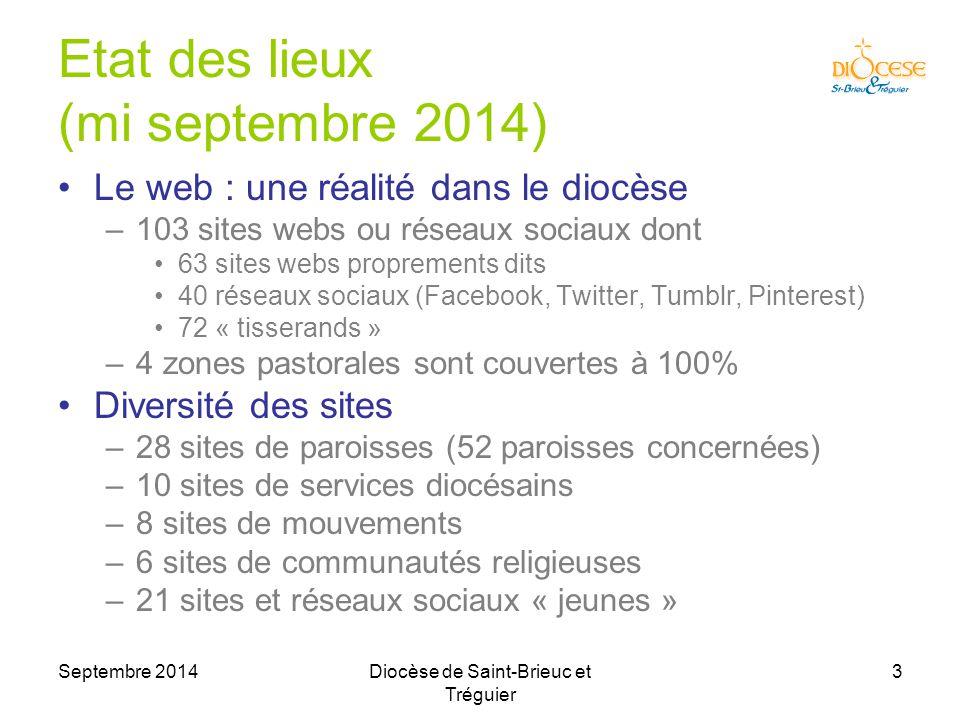 Septembre 2014Diocèse de Saint-Brieuc et Tréguier 4 Rose : site web Jaune : site en projet Blanc : pas de site Couverture web des paroisses