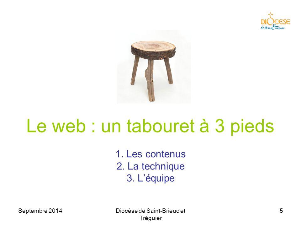 Septembre 2014Diocèse de Saint-Brieuc et Tréguier 16 Le moteur du site Eviter les langages de programmation –HTML pur : trop basique –PHP/MySQL : trop compliqué –Peu collaboratifs –Quand le webmestre s'en va  le site meurt à 90% Très conseillé : utiliser un CMS –SPIP (20 sites sur 59 : 34%) –Wordpress (10 sites sur 59 : 17%) –Google Sites (5 sites sur 59 : 8%) Voir http://internet22.catholique.fr/-Moteurs-des-sites- webs-http://internet22.catholique.fr/-Moteurs-des-sites- webs-  Penser à l'équipe !