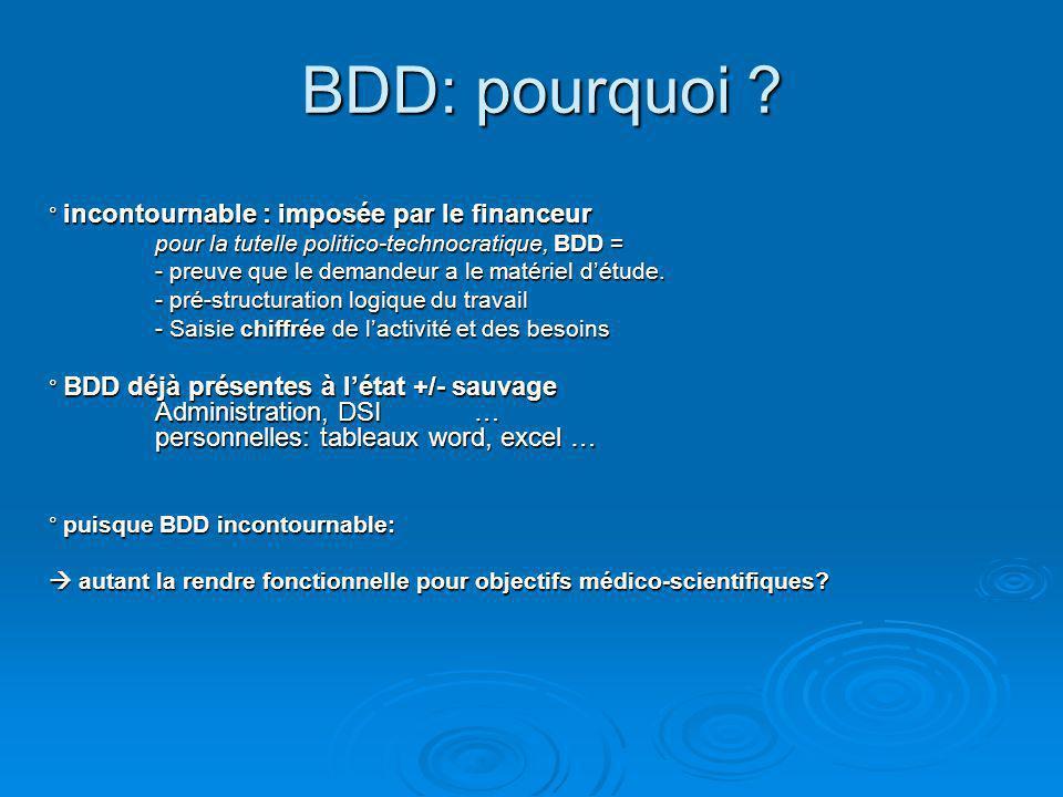 BDD: pourquoi ? BDD: pourquoi ? ° incontournable : imposée par le financeur pour la tutelle politico-technocratique, BDD = - preuve que le demandeur a