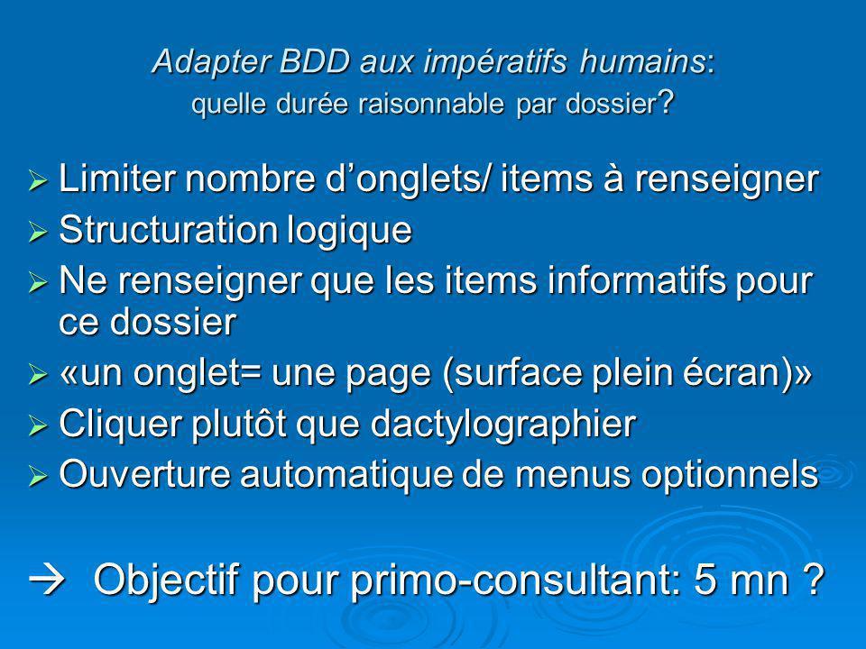 Adapter BDD aux impératifs humains: quelle durée raisonnable par dossier ?  Limiter nombre d'onglets/ items à renseigner  Structuration logique  Ne