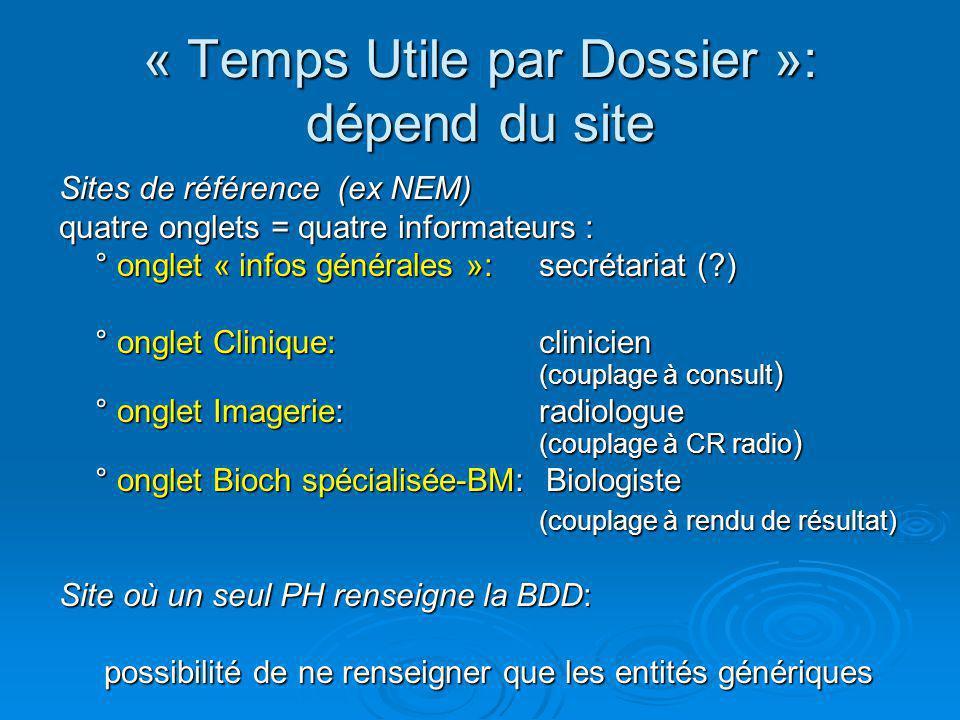« Temps Utile par Dossier »: dépend du site Sites de référence (ex NEM) quatre onglets = quatre informateurs : ° onglet « infos générales »: secrétari