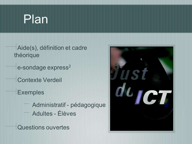 Plan Aide(s), définition et cadre théorique e-sondage express 2 Contexte Verdeil Exemples Administratif - pédagogique Adultes - Élèves Questions ouvertes